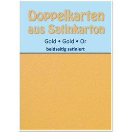 KARTEN und Zubehör / Cards 10 Satin-Doppelkarten A6, gold, beidseitig satiniert