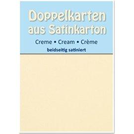 KARTEN und Zubehör / Cards 5 de cetim cartões de duplas A6, creme, cetim em ambos os lados