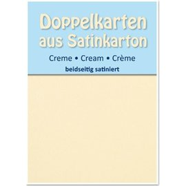 KARTEN und Zubehör / Cards 5 Satin-Doppelkarten A6, creme, beidseitig satiniert