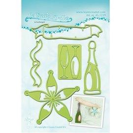 Leane Creatief - Lea'bilities Stansning og prægning skabeloner Lea'bilitie, champagne flaske og glas