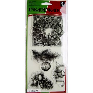 Stempel / Stamp: Transparent Gennemsigtige frimærker, jul krans, Julepynt