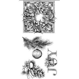 EK Succes, Martha Stewart Transparante stempels, kerstkrans, kerst ornamenten