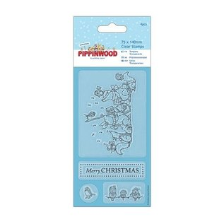 Docrafts / Papermania / Urban Transparante stempels, Pippi Wood Kerstmis