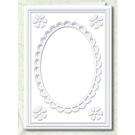 KARTEN und Zubehör / Cards 5 cartões Passepartout com decote oval e guarnição do laço, branco