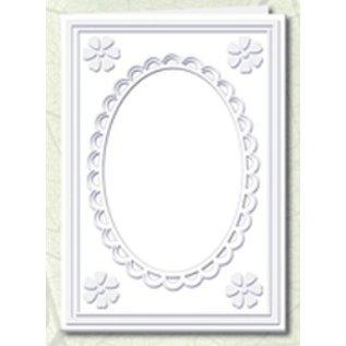 KARTEN und Zubehör / Cards 5 Passepartoutkarten mit ovalem Ausschnitt und Spitzenrand, weiß