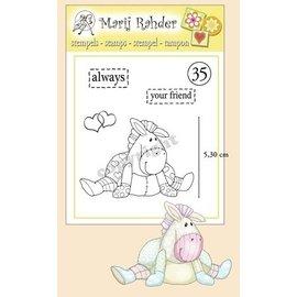 Stempel / Stamp: Transparent Transparante stempels, harten, teksten: altijd en je vriend en een schattig pony