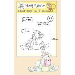 Stempel / Stamp: Transparent Gennemsigtige frimærker, hjerter, tekster: altid og din ven og en sød pony