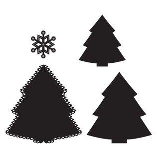 Marianne Design Stansning og prægning stencil: juletræ og snefnug