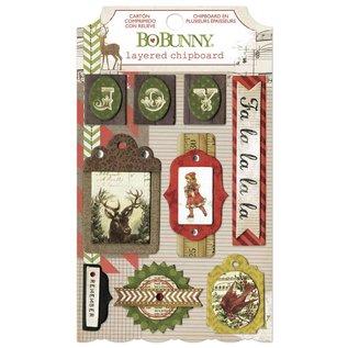BO BUNNY Bo Bunny, Kollektion Weihnachten, 3D Sticker Chipboards