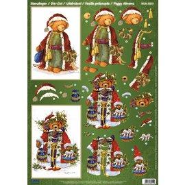 BILDER / PICTURES: Studio Light, Staf Wesenbeek, Willem Haenraets 1 luxuosos lençóis Die corte: folhas cortados 3D, Urso do vintage do Natal.
