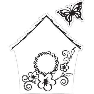 Marianne Design Stampen en Embossing stencil + stempel, vogelhuis: Bloemen