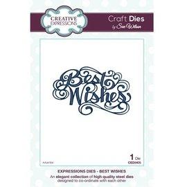 """CREATIVE EXPRESSIONS und COUTURE CREATIONS Taglio e goffratura stencil, le espressioni Collection """"Best Wishes"""""""