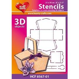 Schablonen, für verschiedene Techniken / Templates Masque panier en plastique 3D, taille: 21 x 30 cm