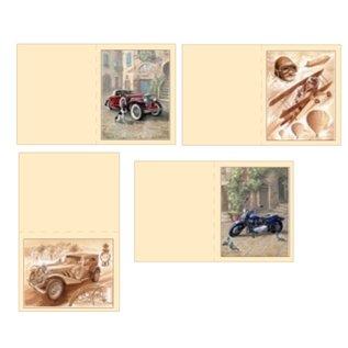 Dekoration Schachtel Gestalten / Boxe ... Kits, 3D Die cut sheets for 4 men Cards: vintage, biplane, Motorcycle + 4 double tickets!