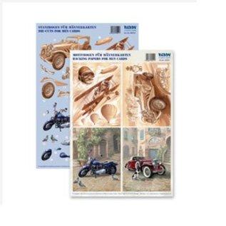 Dekoration Schachtel Gestalten / Boxe ... Kits, feuilles decoupees 3D pour 4 hommes Cartes: cru, biplan, moto + 4 billets doubles!
