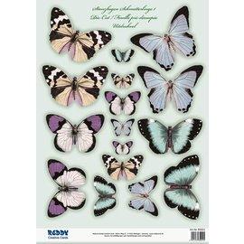 Embellishments / Verzierungen Set con fogli singoli 2 die, con più di 30 farfalle