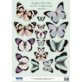 Embellishments / Verzierungen SET 2 feuilles Die coupées, avec plus de 30 papillons