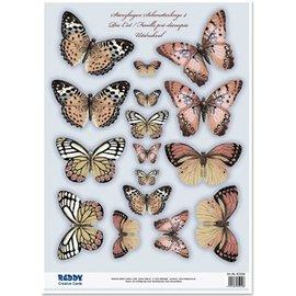 Embellishments / Verzierungen 2 sterven losse vellen, met meer dan 30 vlinders