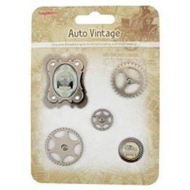 Embellishments / Verzierungen Metal Charms Set Car Vintage, 5 delen