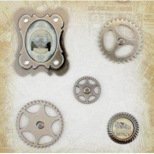 Embellishments / Verzierungen Metal Charms Set Auto Vintage, 5 Teile