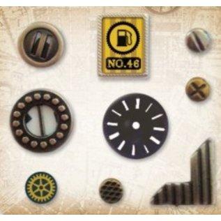 Embellishments / Verzierungen Metal Charms Set Car Vintage, 9 dele