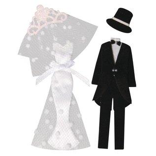 Embellishments / Verzierungen Decorative Stickers: bride + groom, with adhesive dot, 4 parts