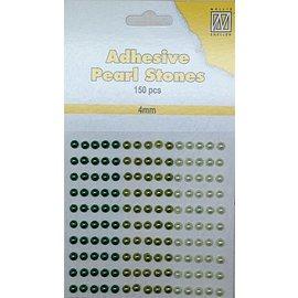 Embellishments / Verzierungen 150 perles autocollantes, vert