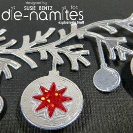 Die-namics Estampillage et gaufrage pochoir, Les-namites, boule de Noël guirlande