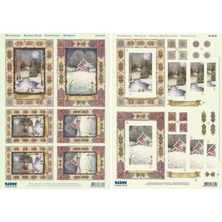 """BASTELSETS / CRAFT KITS 2 Deluxe Die cut ark: 3D Stanzbogenset """"Christmas landskaber"""""""