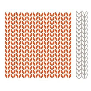 Marianne Design Prægning Folder + matchende stempling og prægning stencil, strikkeopskrifter