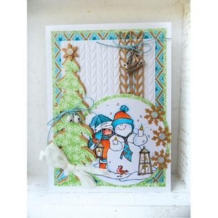 Marianne Design Embossing Folder + matching stamping and embossing stencil, knitting patterns