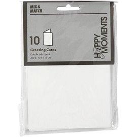 KARTEN und Zubehör / Cards Briefkarte, Größe 10,5x15 cm, weiß, 10 Stück