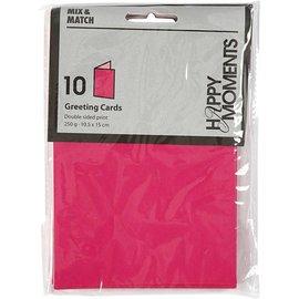 KARTEN und Zubehör / Cards Briefkarte, Größe 10,5x15 cm, pink/rosa, 10 Stück
