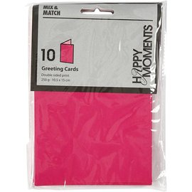 KARTEN und Zubehör / Cards Lettre format carte 10,5x15 cm, rose / rose, 10 pièces