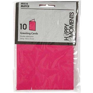 KARTEN und Zubehör / Cards Briefkarte, Größe 10,5x15 cm,pink/rosa, 10 Stück