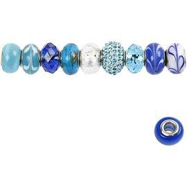 Schmuck Gestalten / Jewellery art Contas de Vidro Harmony, D: 13-15 mm, tons de azul, classificou 10
