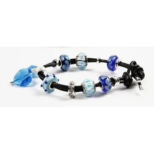 Schmuck Gestalten / Jewellery art Perle di vetro Armonia, D: 13-15 mm, i toni blu, classificato 10
