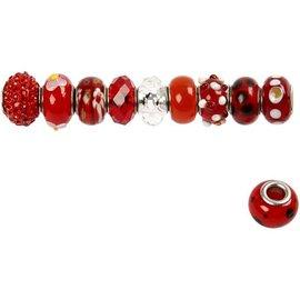 Schmuck Gestalten / Jewellery art Glass beads harmony, D: 13-15 mm, reds, sorted 10