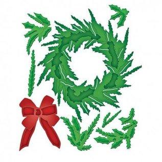 Spellbinders und Rayher Stampen en Embossing stencil, kerstkrans