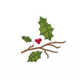 Spellbinders und Rayher Stempling og prægning stencil, julemotiver grene