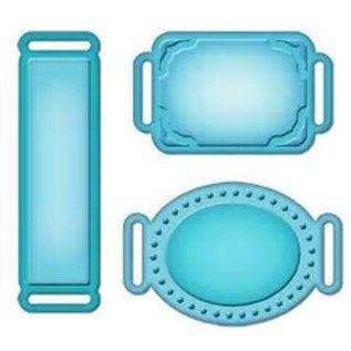 Spellbinders und Rayher Spellbinders Stanz- und Prägeschablone, Metallschablone Shapeabilities, Labels