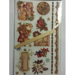 Embellishments / Verzierungen Rubbeltransfers, Weihnachtsmotiven