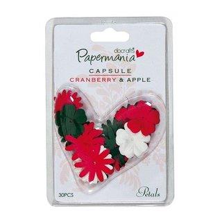 Embellishments / Verzierungen 30 blomster, grønne, røde og hvide