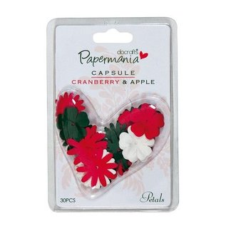 Embellishments / Verzierungen 30 Blüten, grün, rot und weiß