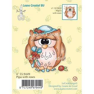 Leane Creatief - Lea'bilities Gennemsigtige frimærker, ugle Pipa med roser