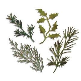 Sizzix Estampagem e gravação estêncil, thinlits Sizzix, Conjunto de 4 ramos com folhas