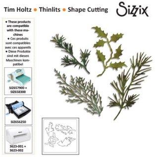 Sizzix Stempling og prægning stencil, Sizzix thinlits, Sæt med 4 grene med blade