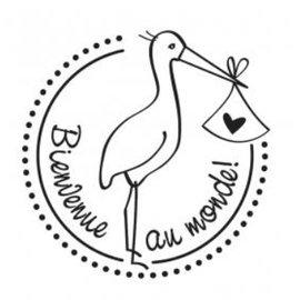 Stempel / Stamp: Holz / Wood Holzstempel, französischer Text, Thema: Baby