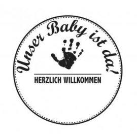 Stempel / Stamp: Holz / Wood Holzstempel, testo in tedesco, argomento: Bambino