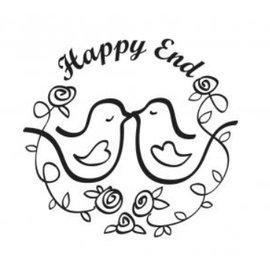 """Stempel / Stamp: Holz / Wood Wooden frimærke, tekst, """"Happy End!"""""""